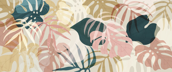 Abstract art tropical leaves background vector. Wallpaper design with watercolor art texture from palm leaves, Jungle leaves, monstera leaf, exotic botanical floral pattern. Design for banner, cover,  Wall mural