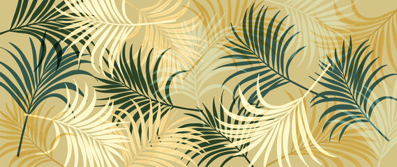 Obraz Abstract art tropical leaves background vector. Wallpaper design with watercolor art texture from palm leaves, Jungle leaves, monstera leaf, exotic botanical floral pattern. Design for banner, cover,  - fototapety do salonu