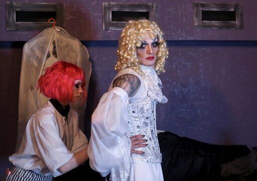 Boylesque performer Ellisha Fox gets ready for DragLesque Show in Moscow