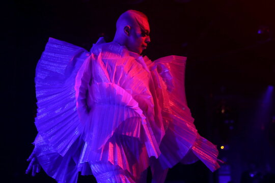 Drag queen Lorina Rey performs during DragLesque Show in Moscow