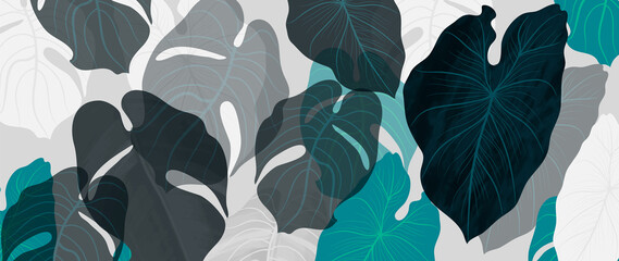Fototapeta Abstract art tropical leaves background vector. Wallpaper design with watercolor art texture from palm leaves, Jungle leaves, monstera leaf, exotic botanical floral pattern. Design for banner, cover,