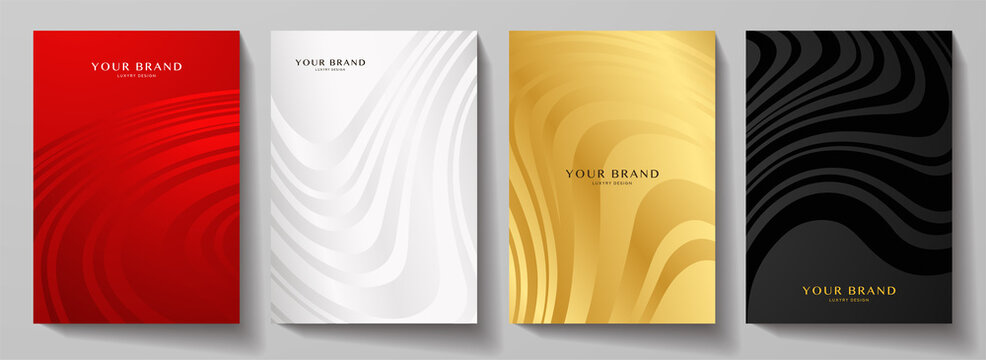Modern cover design set.  Abstract wavy line pattern (curves) in premium red, silver, gold, black color. Creative stripe vector collection for business background, brochure template, booklet, flyer