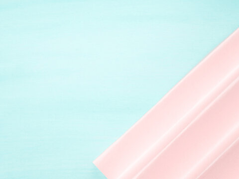 Abstract turquoise pastel color template background with pink paper element