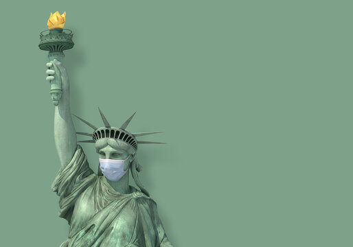 Statue of Liberty with Covid Mask