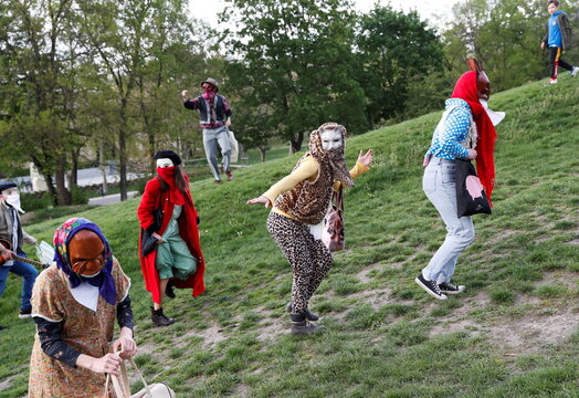 Members of the Utca-SZAK street theatre group perform, in Budapest