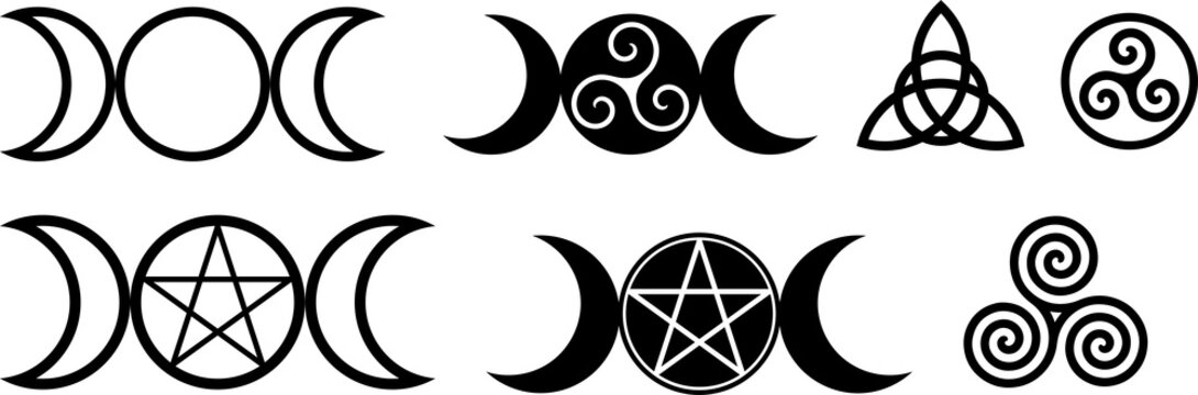 Collection of magical wiccan and pagan symbols: pentagram, triple moon, spiral wheel of the year