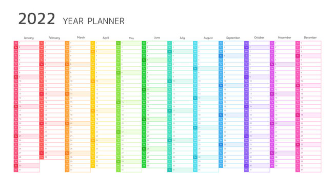 Year planner, 2022 calendar with monthly vertical grid. Template planner for schedule, events and holidays. Vector business organizer, calender grid in rainbow colors
