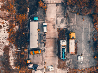 An aerial shot of a construction site in Sheffield taken on a drone - fototapety na wymiar