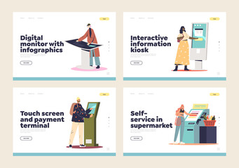 Self service information kiosks, digital terminals and signage for contactless payment landing pages - fototapety na wymiar