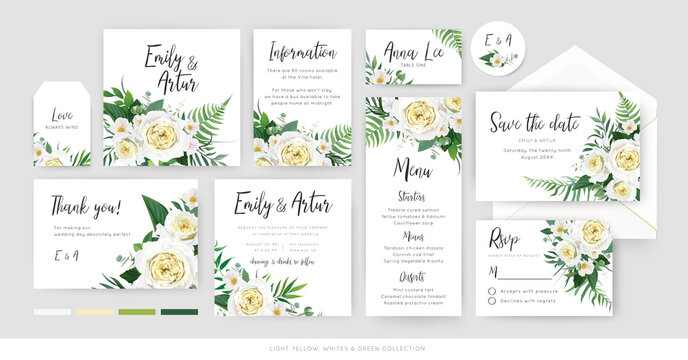 Vector, botanical, floral wedding invite, save the date, menu, thank you, label card tender template set. Yellow, white rose, camellia flower, greenery eucalyptus, green fern leaves watercolor bouquet