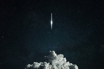 New spacecraft overcomes gravity and lift off into deep space. Successful rocket launch, concept