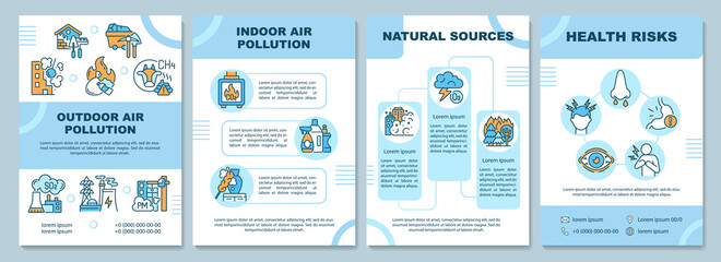 Fototapeta Air pollution brochure template. Outdoor air pollution. Flyer, booklet, leaflet print, cover design with linear icons. Vector layouts for presentation, annual reports, advertisement pages obraz