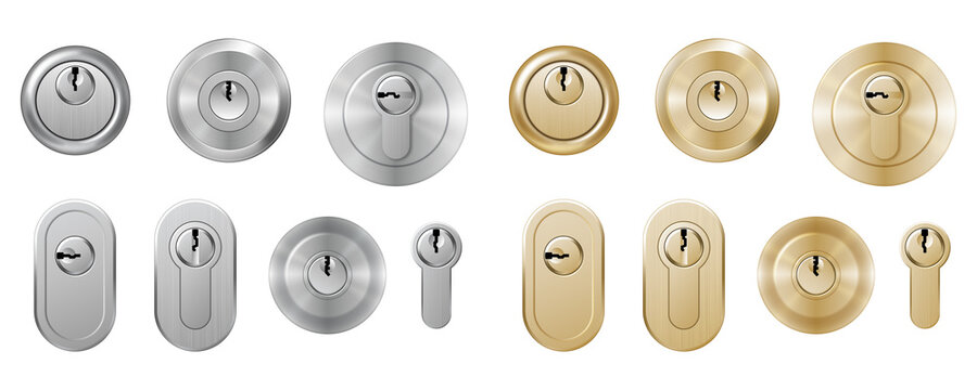 Set of realistic keyholes and keys for padlocks. Metallic lockers isolated with key holes template