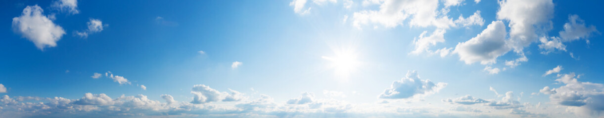 Fototapeta Blue Sky background with tiny Clouds. Panorama background obraz