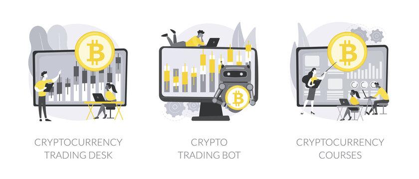 Digital tokens abstract concept vector illustrations.