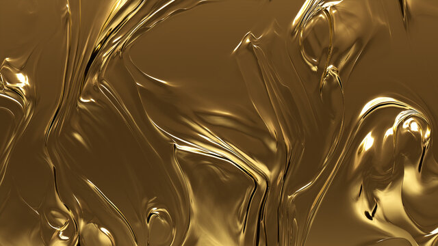 Metallic, Liquid, Glistening texture. A Golden surface for Gold, Smooth Backgrounds.