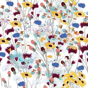 Field vector wild flowers meadow seamless pattern