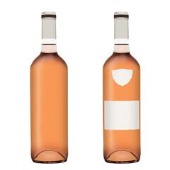 Fototapeta Butelka różowego wina na białym tle. Z etykietami lub bez. obraz