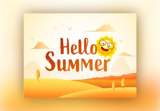 Hello Summer Text Written by Brown Brush with Cartoon Sun on Desert Landscape Background