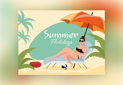 Summer Holidays Font with Swimmer Woman Relaxing at Beach Lounger on Yellow Background