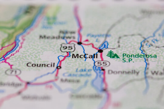 05-04-2021 Portsmouth, Hampshire, UK, McCall Idaho USA shown on a Geography map or road map