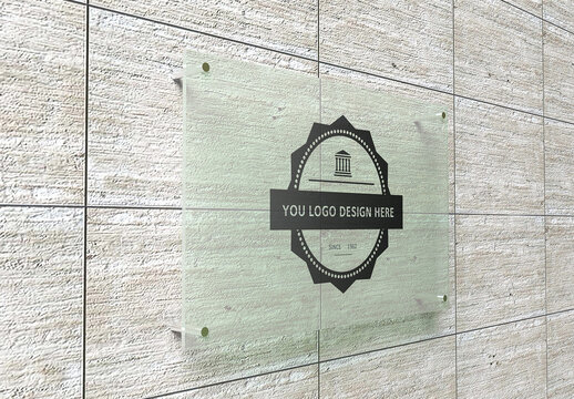 Office Wall Glass Sign Mockup