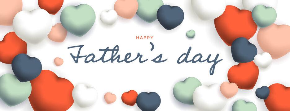 Happy Father's Day sous forme de carte ou bannière, poster ou flyer, avec des losanges et coeurs rouges, verts , roses, bleus et blancs