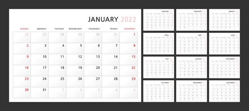 Wall quarterly calendar template for 2022 in a classic minimalist style. Week starts on Sunday. Ready to print