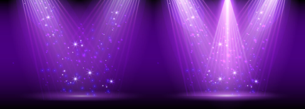 Purple spotlight. Set of bright lighting with spotlights of the stage with purple ducst on transparent background.