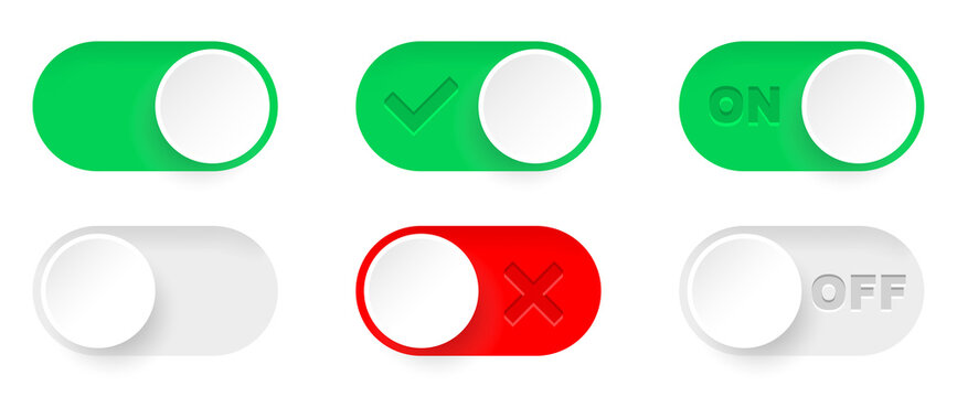 On and Off toggle switch buttons. Switch toggle buttons ON OFF. Material design switch buttons set. Vector illustration.