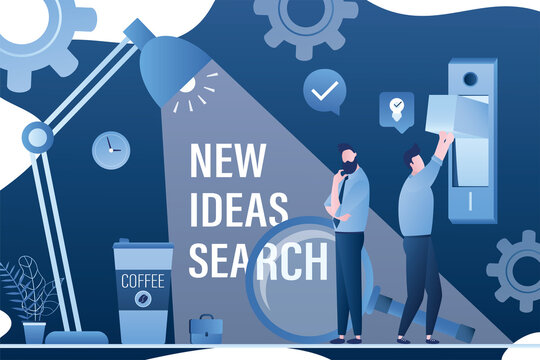 New ideas search, web banner template. Team of business people thinking, brainstorming. Big lamp lighting dark workplace, male employee switch on light bulb