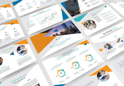 Business Presentation with Orange and Blue Accents