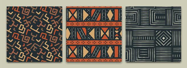Fototapeta Africa tribal art ethnic seamless pattern set obraz