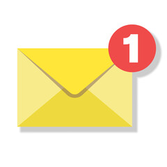 Obraz new mail or new message icon with yellow envelope vector illustration - fototapety do salonu
