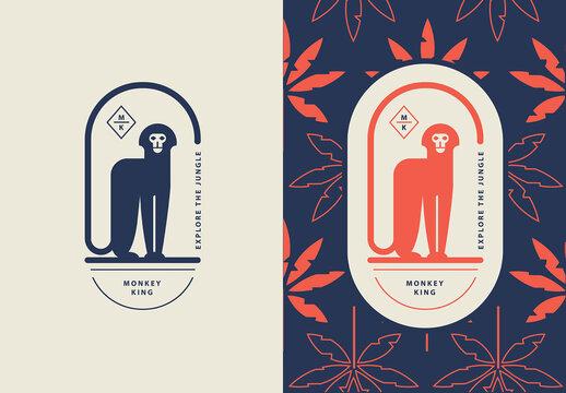 Geometric Monkey Logo Badge Template