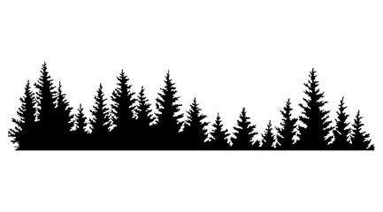 Obraz Fir trees silhouettes. Coniferous spruce horizontal background pattern, black evergreen woods  illustration. Beautiful hand drawn panorama of a coniferous forest - fototapety do salonu