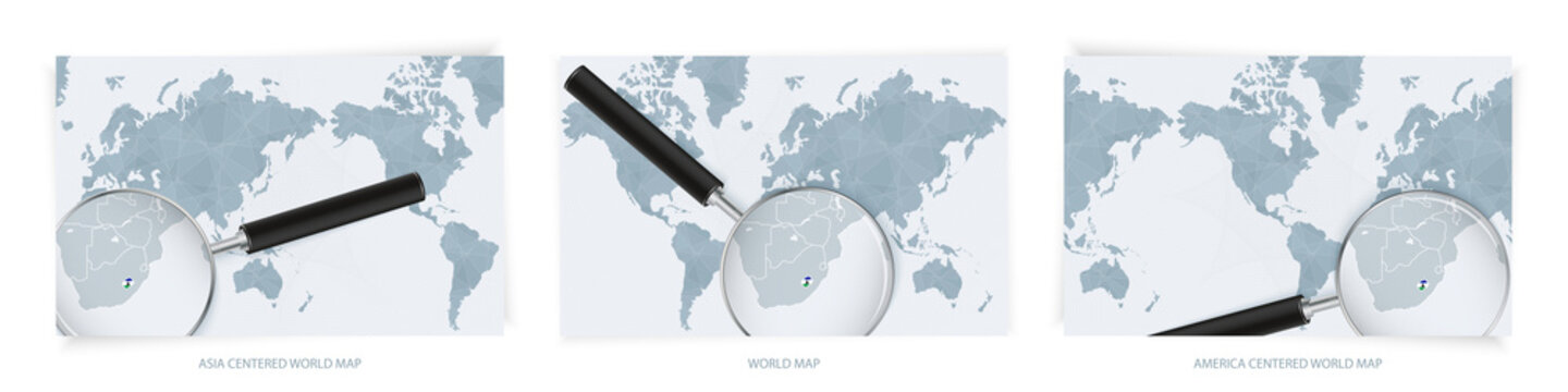 Blue Abstract World Maps with magnifying glass on map of Lesotho with the national flag of Lesotho. Three version of World Map.
