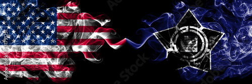 United States of America, America, US, USA, American vs Japan, Japanese, Ashibetsu, Hokkaido, Sorachi, Subprefecture smoky mystic flags placed side by side. Thick colored silky abstract smoke flags.