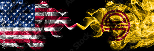 United States of America, America, US, USA, American vs Japan, Japanese, Saroma, Hokkaido, Okhotsk, Subprefecture smoky mystic flags placed side by side. Thick colored silky abstract smoke flags.