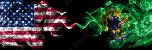 United States of America, America, US, USA, American vs Presidential Standard Brazil smoky mystic flags placed side by side. Thick colored silky abstract smoke flags.