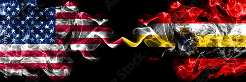 United States of America, America, US, USA, American vs Russia, Russian, Kursk Oblast smoky mystic flags placed side by side. Thick colored silky abstract smoke flags.