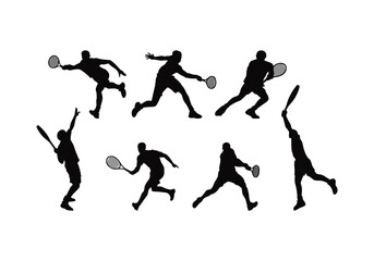 Fototapeta set of silhouette player tenis vector obraz