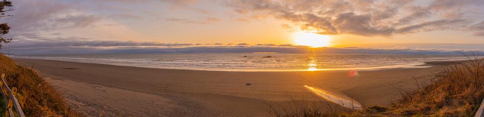 Panoramic landscape of sunset ocean beach on the Washington Coast