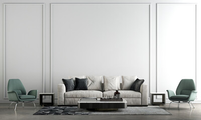 Fototapeta Modern cozy mock up and decoration furniture of luxury living room and white wall texture background, 3D rendering obraz