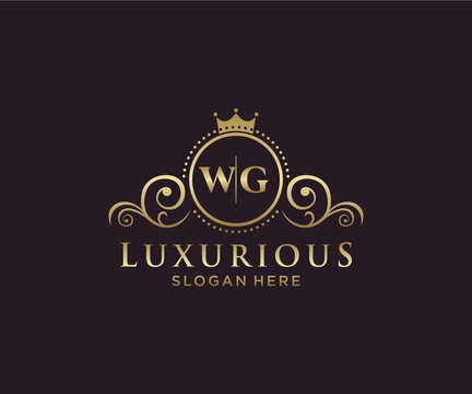Initial WG Letter Royal Luxury Logo template in vector art for Restaurant, Royalty, Boutique, Cafe, Hotel, Heraldic, Jewelry, Fashion and other vector illustration.