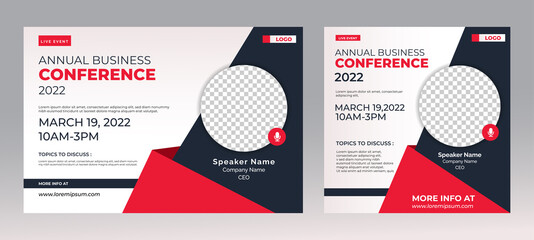 Marketing Strategies live webinar banner invitation and social media post template. Business webinar invitation design. Vector EPS 10