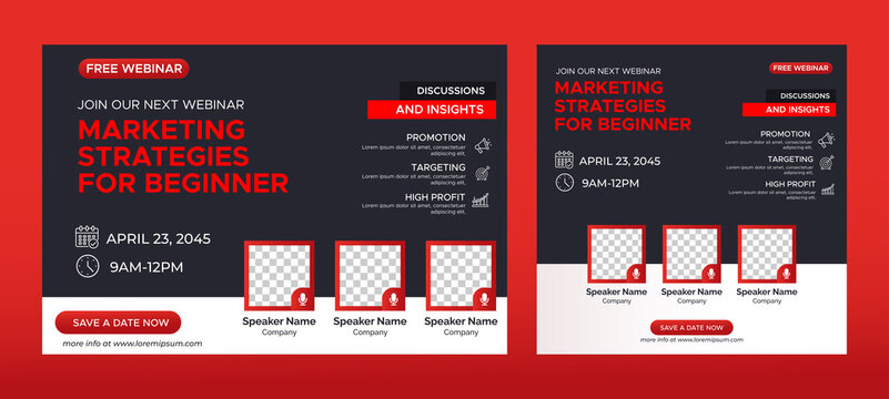 Annual Business Conference live webinar banner invitation and social media post template. Business webinar invitation design. Vector EPS 10
