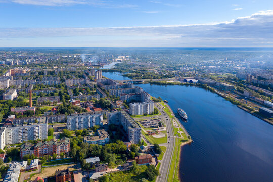 Aerial view of Cherepovets town and Yagorba river on sunny summer day. Vologda Oblast, Russia.