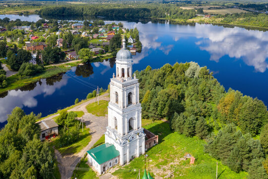 View of Holy Trinity Cathedral (Troitsky cathedral)  and Poshekhonye town on sunny summer day. Yaroslavl Oblast, Russia.
