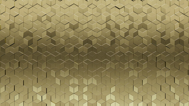 Gold, Diamond shaped Wall background with tiles. Polished, tile Wallpaper with 3D, Luxurious blocks. 3D Render